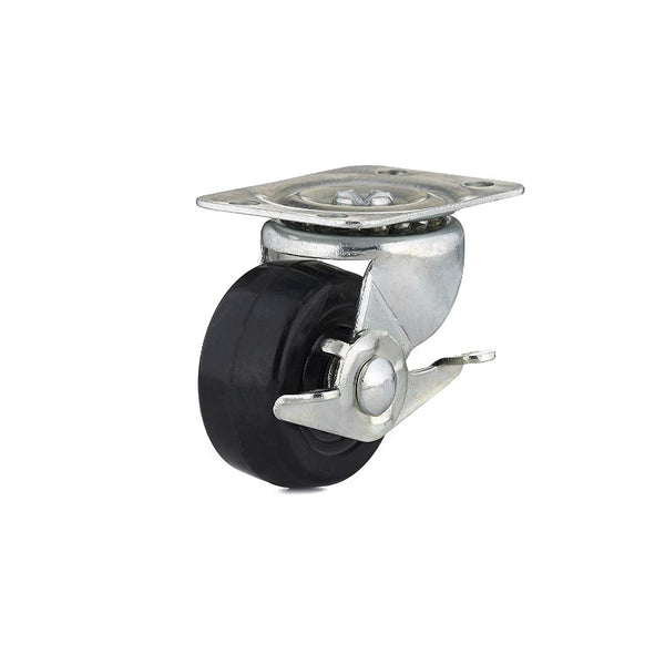 Richelieu F25086 Rubber Wheel Swivel Plate Caster with Brake, 125 Lb, 2""
