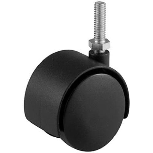 Richelieu F48061 Dual-Wheel Furniture Caster with Threaded Stem, Black, 2""