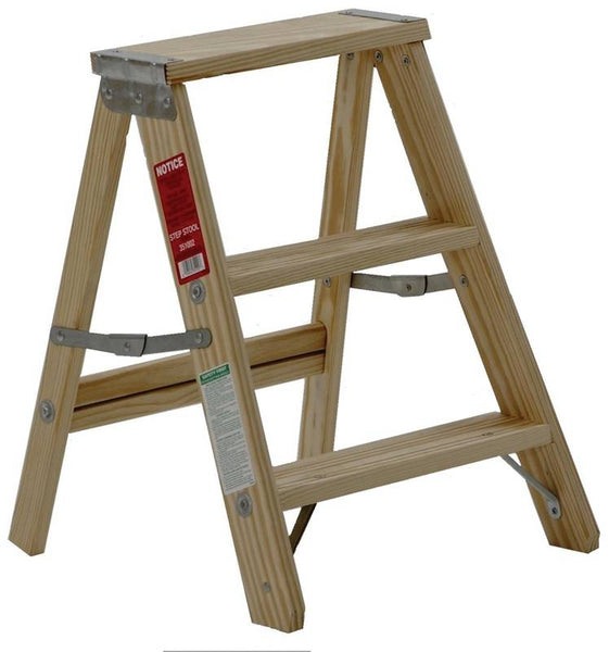 Michigan 110002 Household-Duty Type III Wood Step Ladder, 200 Lb Load, 2'