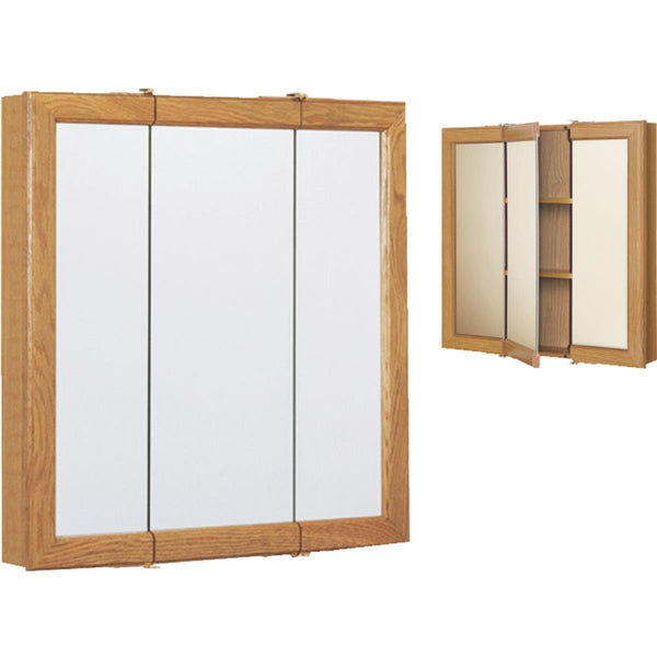 Continental CB00630-1 Framed Tri-View Mirrored Medicine Cabinet, Oak, 30""