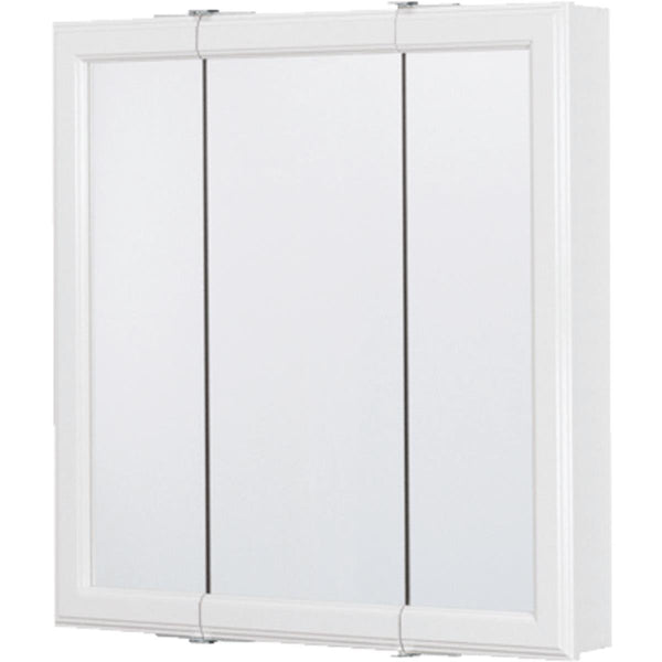 Continental CB12024-1 Framed Tri-View Mirrored Medicine Cabinet, White, 24""