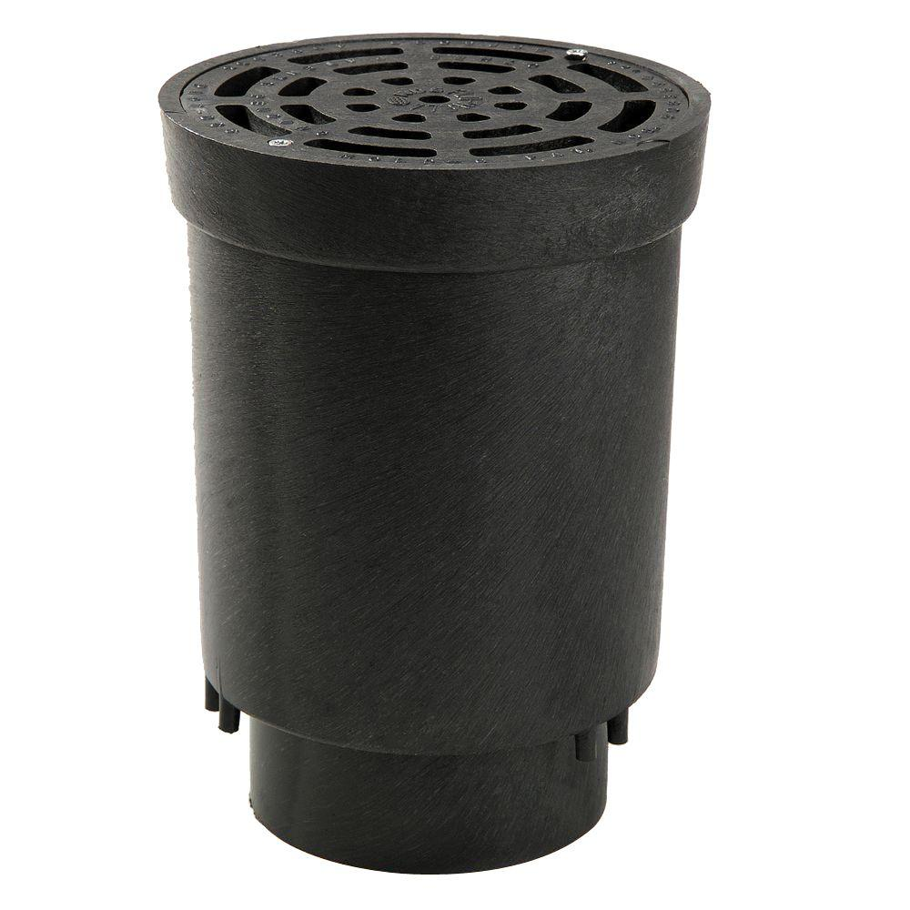 "NDS FWSD69 Flo-Well Surface Drain Inlet with Grate, Black, 6"" x 4"""
