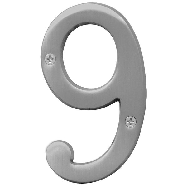 Hy-Ko BR-43SN/9 Prestige Series House Number 9, Satin Nickel, 4""