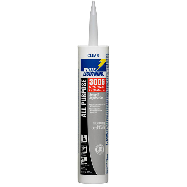 White Lightning W12001010 Original Formula 3006 All-Purpose Caulk 10 Oz, Clear