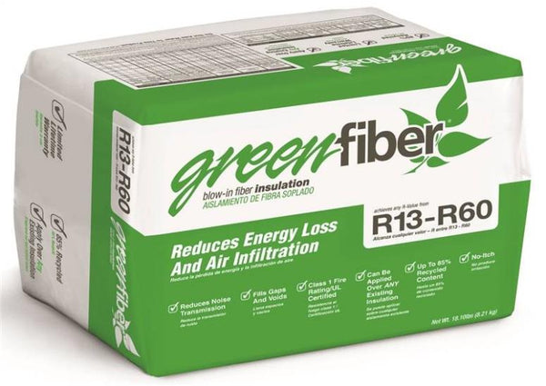 GreenFiber INS541LD Low Dust Blow-In Cellulose Insulation, R13-R60, 40 Sq.ft.