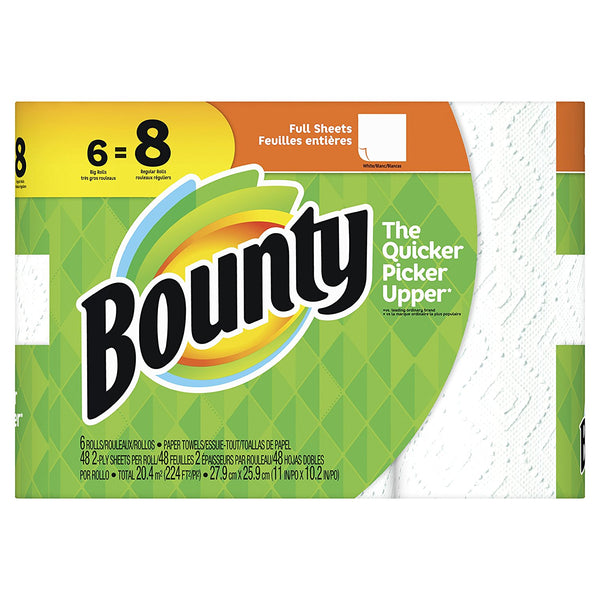 Bounty 74698 Full Sheet 2-Ply Paper Towels, White, 48-Sheets, 6 Big Rolls
