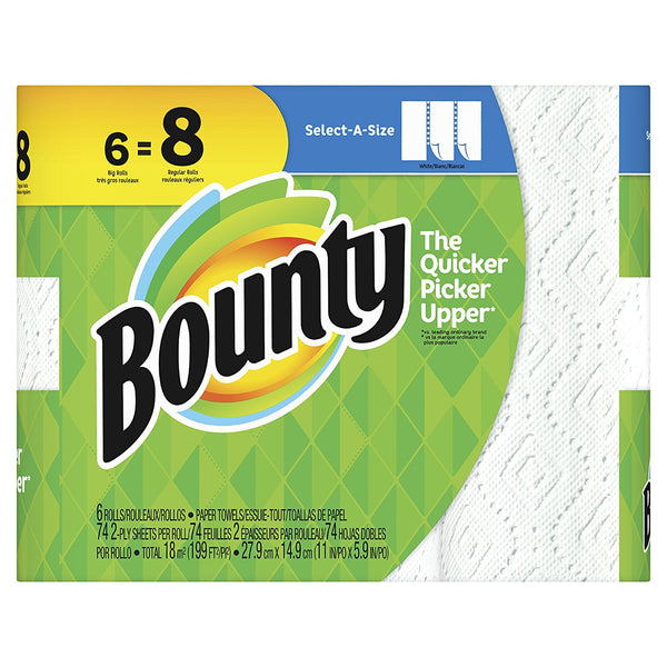 Bounty 74699 Select-A-Size 2-Ply Paper Towels, White, 74-Sheets, 6 Big Rolls