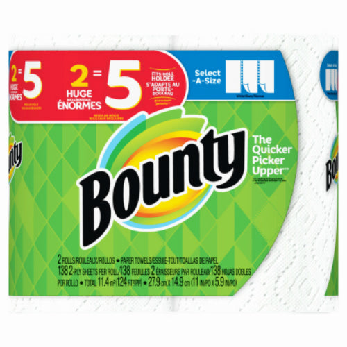 Bounty 76213 Select-A-Size 2-Ply Paper Towels, White, 138-Sheets, 2 Huge Rolls