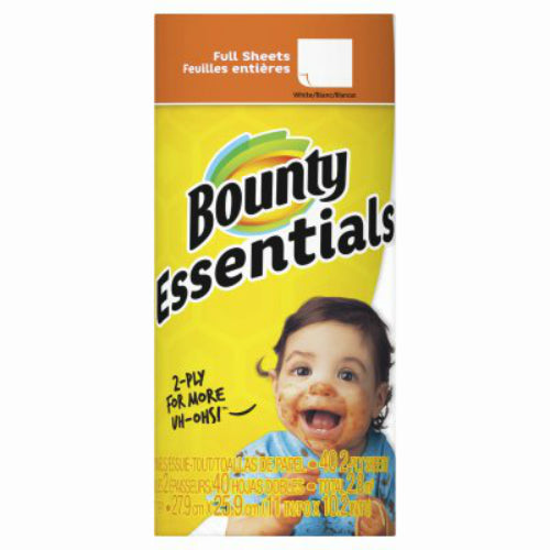 Bounty 74657 Essentials Full Sheet 2-Ply Paper Towel, White, 40-Sheet Roll