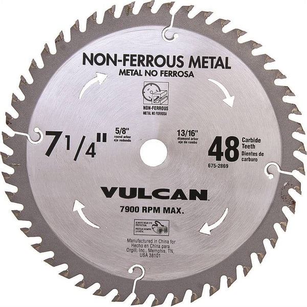 Vulcan 410761OR Non-Ferrous Metal Carbide Circular Saw Blade, 48-Teeth, 7-1/4""