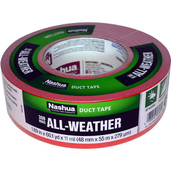 "Nashua 1086189 All-Weather HVAC Duct Tape #398, 1.89"" x 60 Yd, 11 Mil, Red"
