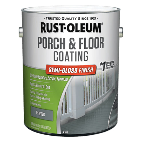 Rust-Oleum 320420 Porch & Floor Coating, Semi-Gloss, Pewter, Low VOC, 1-Gallon