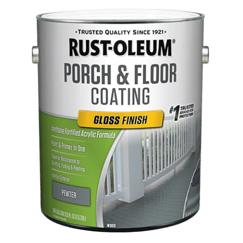 Rust-Oleum 320474 Porch & Floor Coating, Gloss, Pewter, 1-Gallon