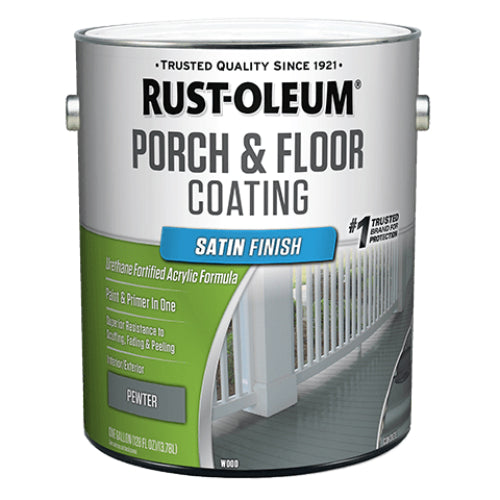 Rust-Oleum 320418 Porch & Floor Coating, Satin, Pewter, 1-Gallon