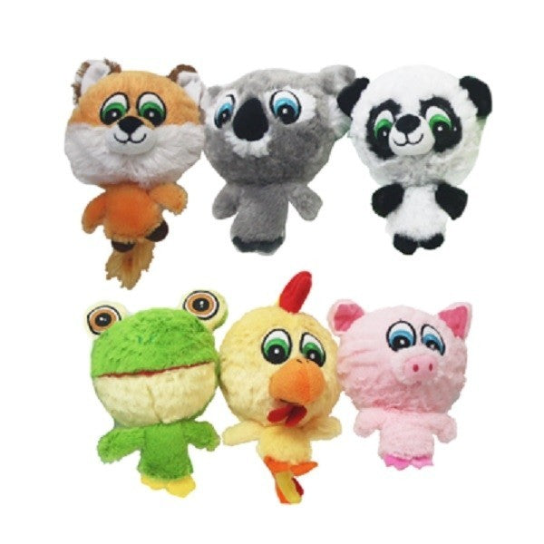 "Multipet 43225 Knobby Noggins Plush Dog Toy, 4"", Assorted Styles, 1-Qty"