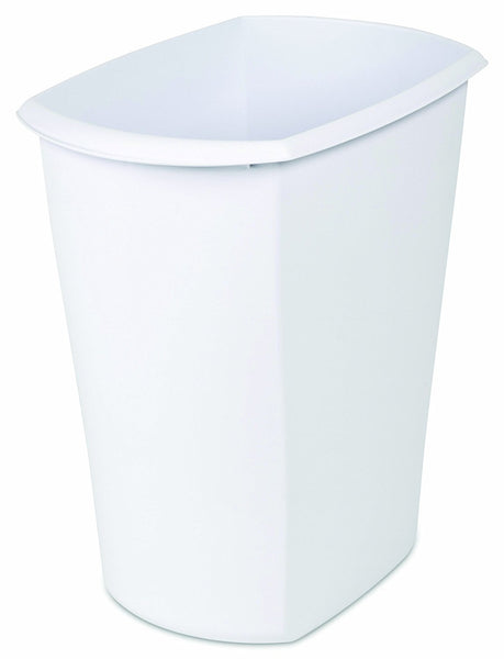 Sterilite 10528006 Rectangular Open Wastebasket, White, 5.5 Gallon