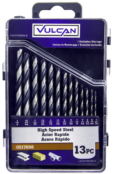 "Vulcan 242790OR High Speed Steel Jobber Length Drill Bit, 1/16"" - 1/4"", 13-Piece"
