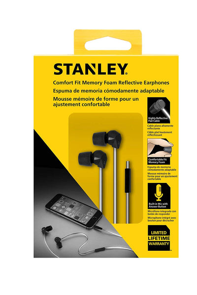 Stanley 1909514ST2 Comfort Fit Memory Foam Reflective Earphone with Microphone