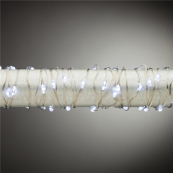 Everlasting Glow 36900 B/O Cool White Micro 30-LED String Light 5', Silver Wire