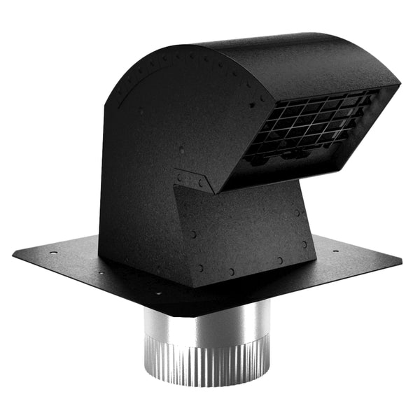 Imperial VT0640 R2 Roof Vent Cap with Damper & Animal Screen, Black, 4""