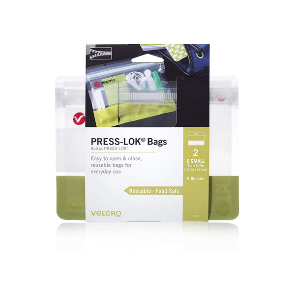 Velcro Brand 95173 Press-Lok Food Safe Reusable Bags, Green, X-Small, 2-Pack