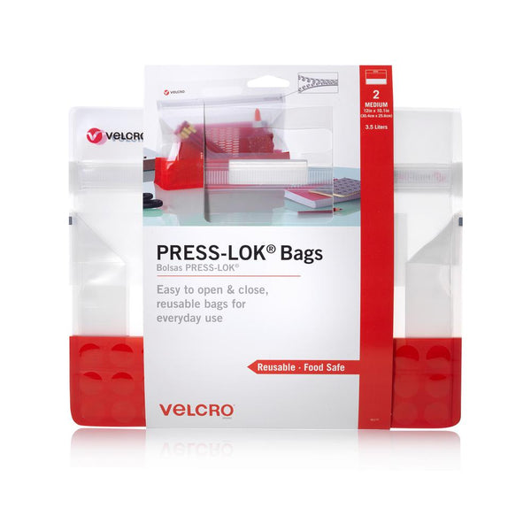 Velcro Brand 95177 Press-Lok Food Safe Reusable Bags, Red, Medium, 2-Pack