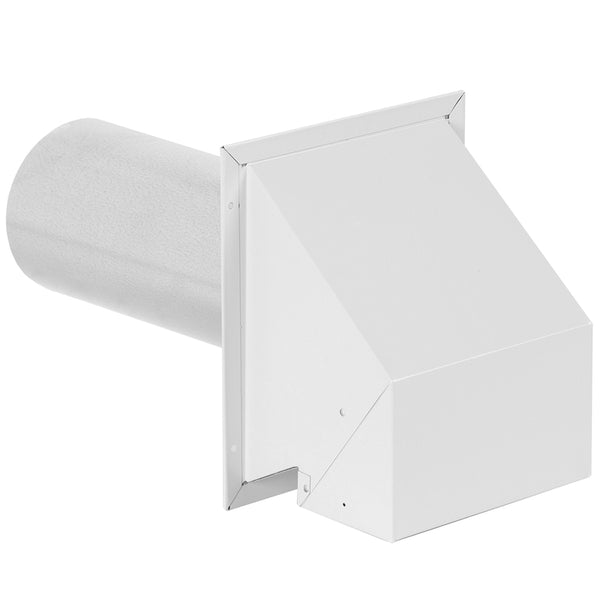 "Imperial VT0501-B R2 Wall Exhaust Dryer Vent Hood 4"" with 12"" Tail Pipe, White"