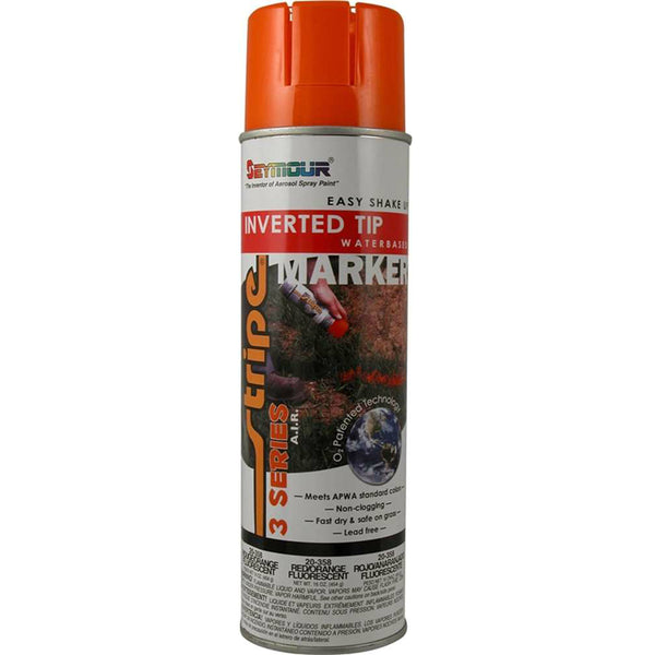 Seymour 20-358 Stripe 3-Series Marking Spray Paint 16 Oz, Fluorescent Red/Orange