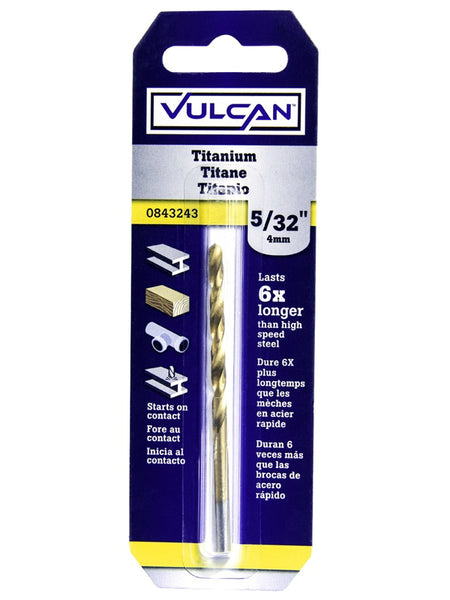 "Vulcan 218731OR Titanium Coated High Speed Steel Drill Bit, Straight, 5/32""x3"""