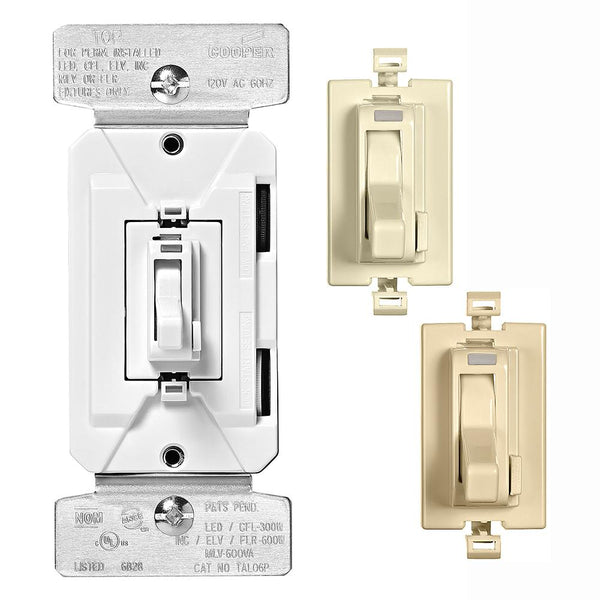 Eaton TAL06P2-C1-K-L AL-Series 1-Pole/3-Way Preset Toggle Dimmer w/ Color Kit
