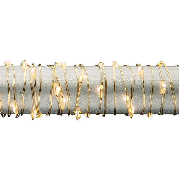 Everlasting Glow 93766 B/O Warm White Micro 30-LED String Light 5', Golden Wire