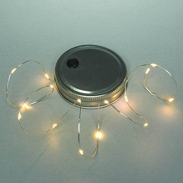 Everlasting Glow 93770 B/O Mason Jar Lid with Warm White Micro LED String Light
