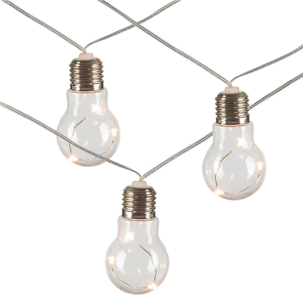 Everlasting Glow 93043 B/O Plastic Edison Bulb 10-Light Set, Silver Wire, 9'
