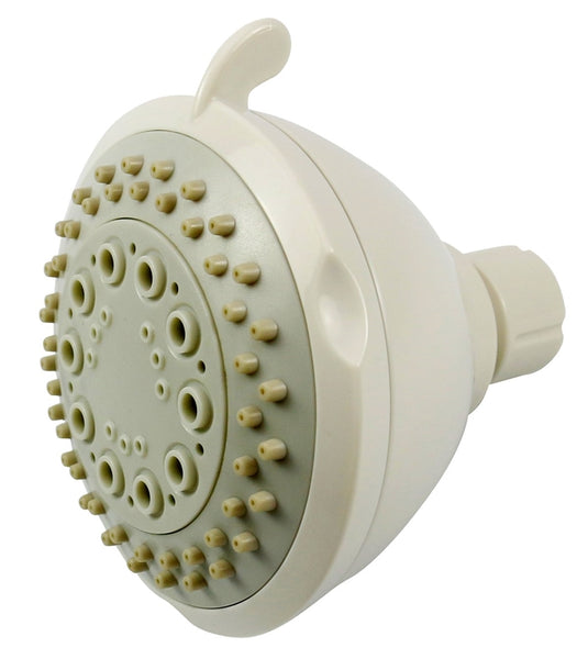 Boston Harbor TS02213WH Fixed-Mount Shower Head with 3-Spray Functions, White
