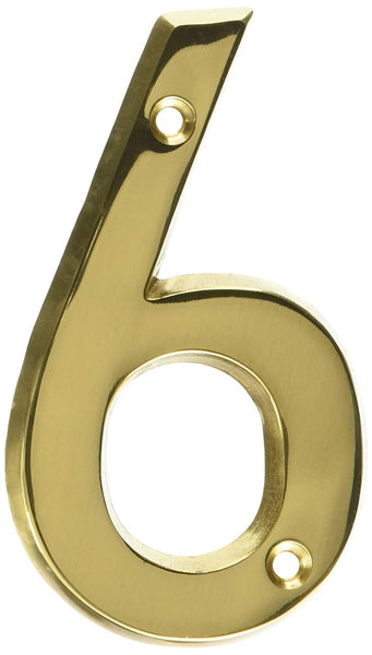 Hy-Ko BR-42PB/6 Prestige Solid Brass House Number 6, Polished Brass, 4""