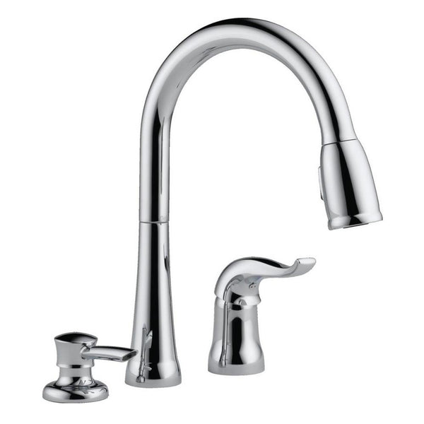 Delta 16970-SD-DST Kate 1-Handle Pull-Down Kitchen Faucet w/Soap Dispenser, Chrome