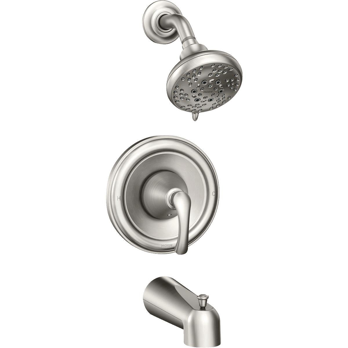Moen 82876srn Tiffin One Handle Posi Temp Tub Shower Faucet Brushed Toolboxsupply Com