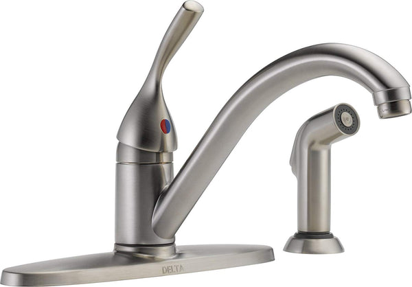 Delta 400-SS-DST Classic 1-Handle Kitchen Faucet with Side Sprayer, Stainless