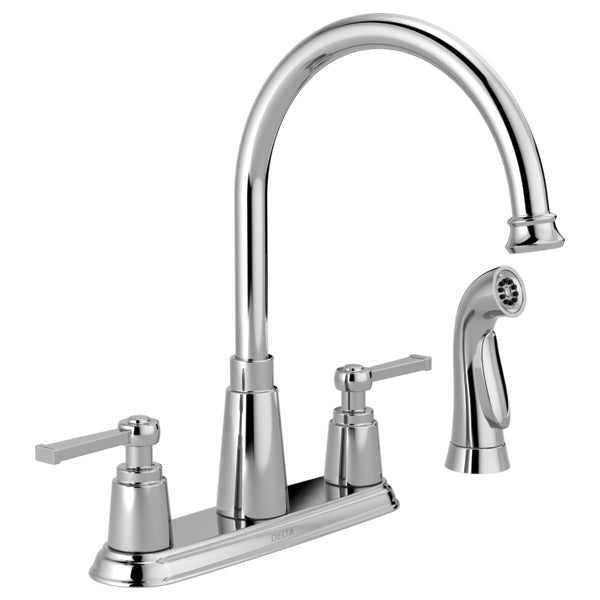 Delta 21742LF Emmett 2-Handle High Arc Kitchen Faucet with Side Spray, Chrome