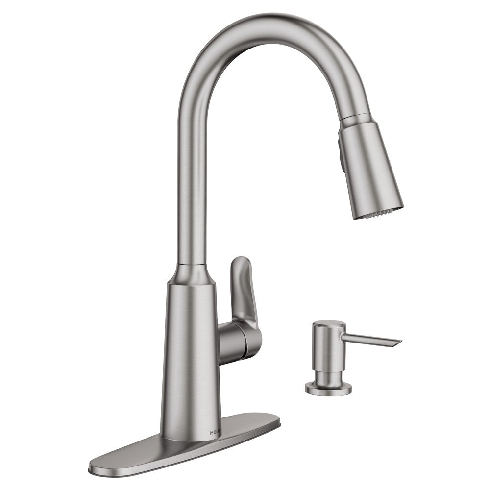 Moen 87028SRS Edwyn One-Handle High Arc Pull-Down Kitchen Faucet, Stai
