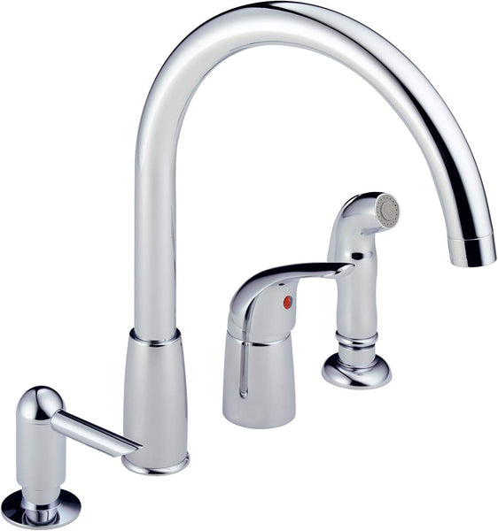 Peerless P188900LF-SD Single Lever Kitchen Faucet with Side Sprayer & Soap Dispenser, Chrome
