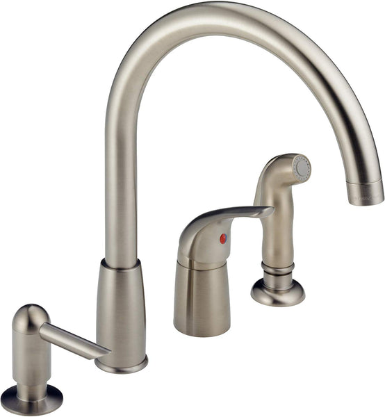 Peerless P188900LF-SSSD Single Lever Kitchen Faucet with Soap Dispenser, Stainless