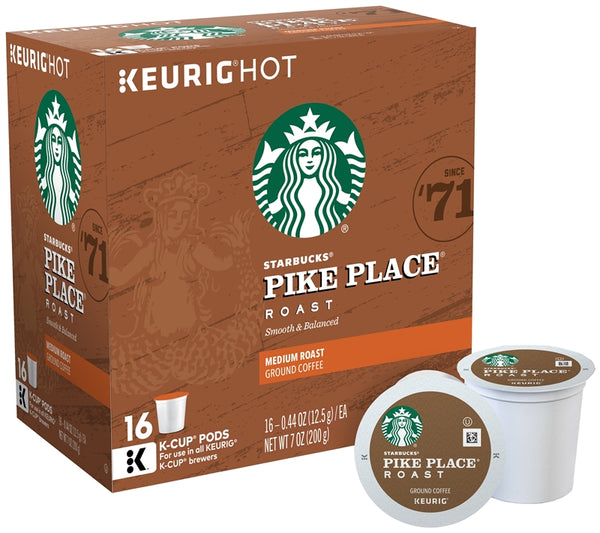 Starbucks 120932 Pike Place Medium Roast K-Cup for Keurig Brewers, 16-Count