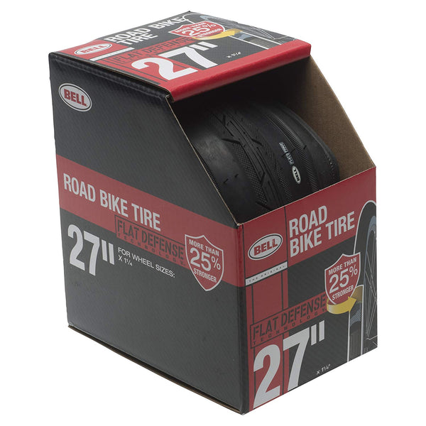 "Bell 7091047 Flat Defense Road Bike Tire, Black, 27"" x 1-1/4"""