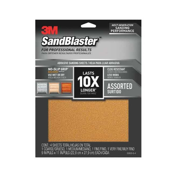 "3M 20000-G-4 SandBlaster Sandpaper with No-Slip Grip, Assorted, 9""x11"", 4-Pack"
