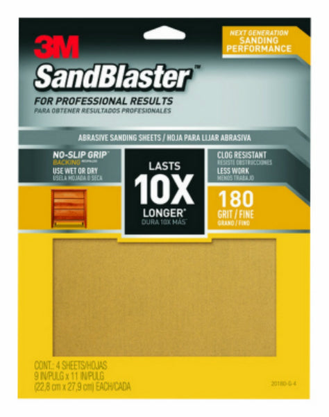 "3M 20180-G-4 SandBlaster Sandpaper with No-Slip Grip, 180-Grit, 9""x11"", 4-Pack"