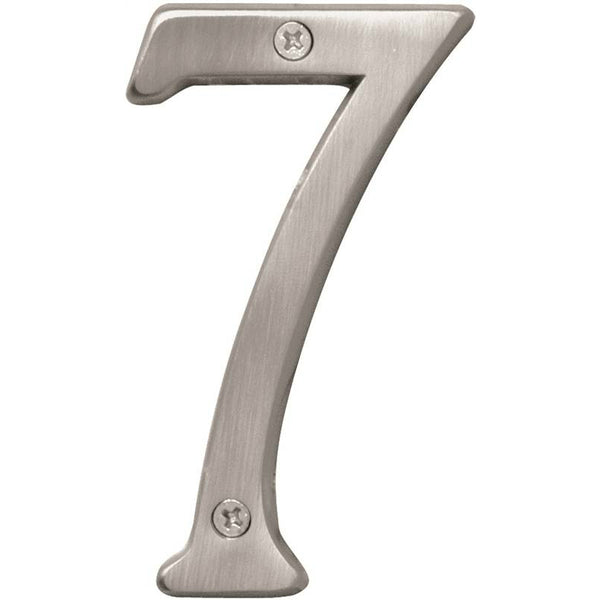 Hy-Ko BR-43SN/7 Prestige Solid Brass House Number 7, Satin Nickel, 4""