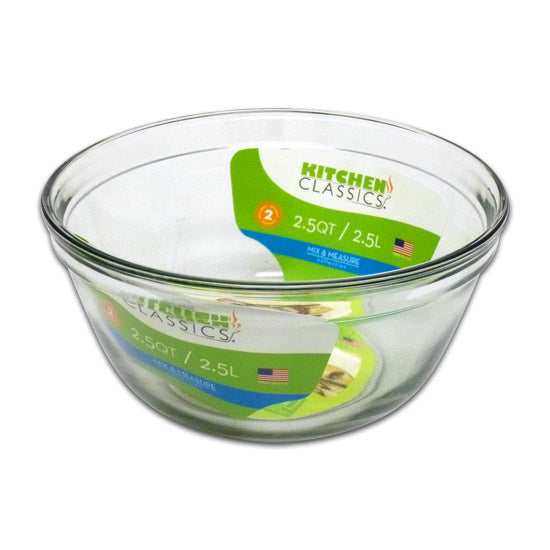 Libra 195-81575LIB Kitchen Classics Tempered Glass Mixing Bowl, Clear, 2.5 Qt