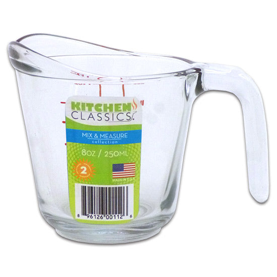 Libra 195-91659LIB Kitchen Classics Clear Glass Measuring Cup, Red Print, 8 Oz