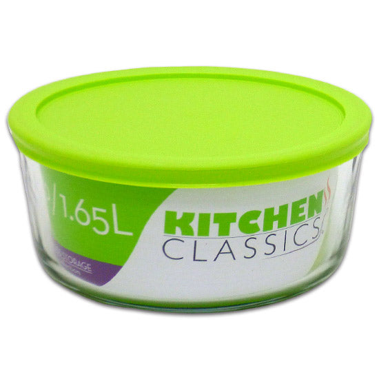 Libra 195-85908LIB Kitchen Classics Glass Round Food Storage Bowl w/Lid, 7-Cup